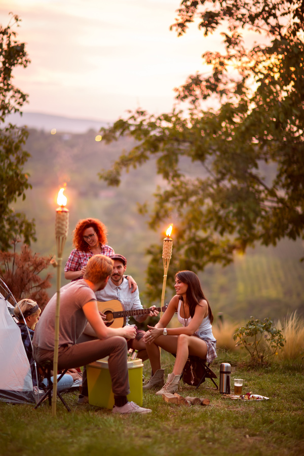 Young friends camping gathering Stock Photo 04