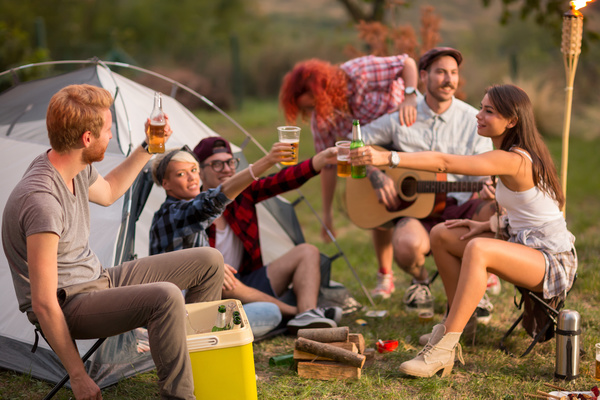 Young friends camping gathering Stock Photo 05