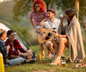 Young friends camping gathering Stock Photo 07