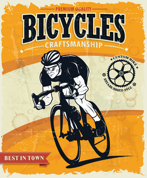 bicycles vintage poster vector