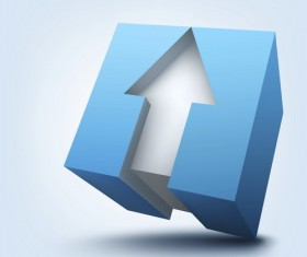 blue cube with arrow background vector