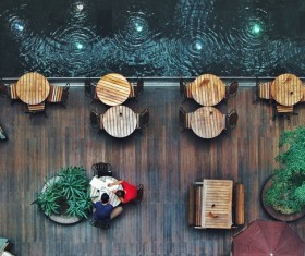 cafeteria with wooden decoration Stock Photo