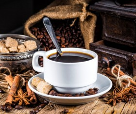 coffee and caramel and coffee beans Stock Photo 01