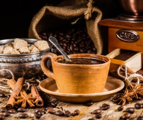 coffee and caramel and coffee beans Stock Photo 02