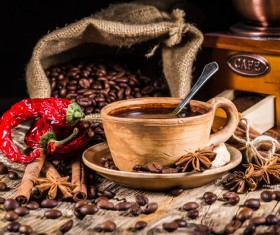 coffee and caramel and coffee beans Stock Photo 03