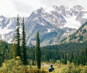 enjoying beautiful mountain landscape Stock Photo