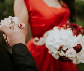 happy marriage couple holding hands Stock Photo