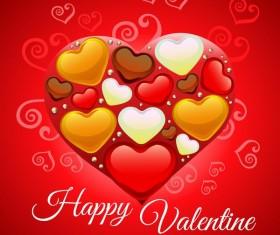 happy valentine heart shape vector