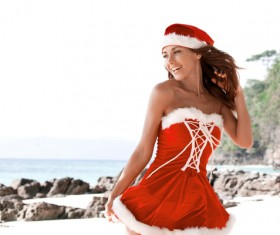 have on Christmas costume happy woman Stock Photo