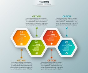 hexagon option infographic template vector 11