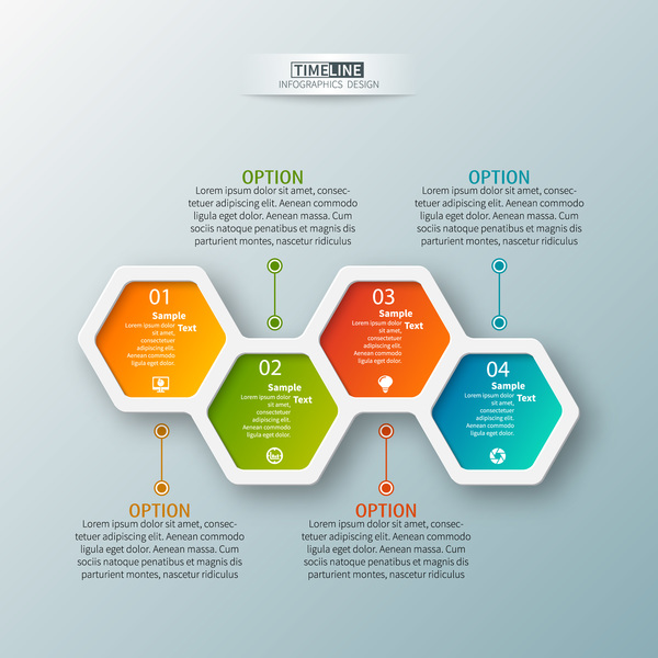 hexagon option infographic template vector 11 free download