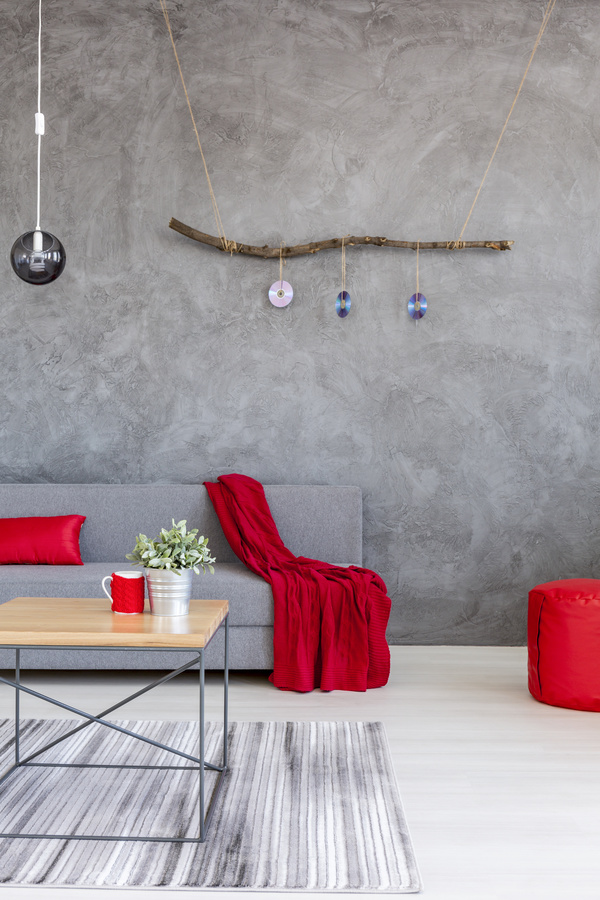 home interior in gray and red silk on the sofa Stock Photo 01