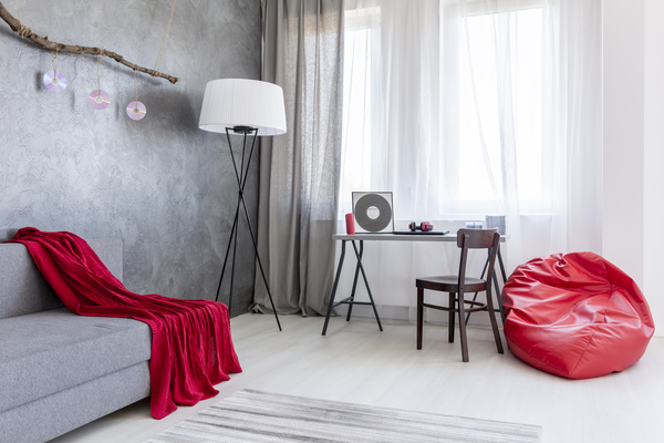 home interior in gray and red silk on the sofa Stock Photo 02