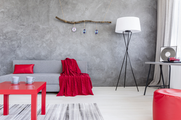 home interior in gray and red silk on the sofa Stock Photo 03