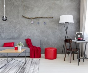 home interior in gray and red silk on the sofa Stock Photo 04