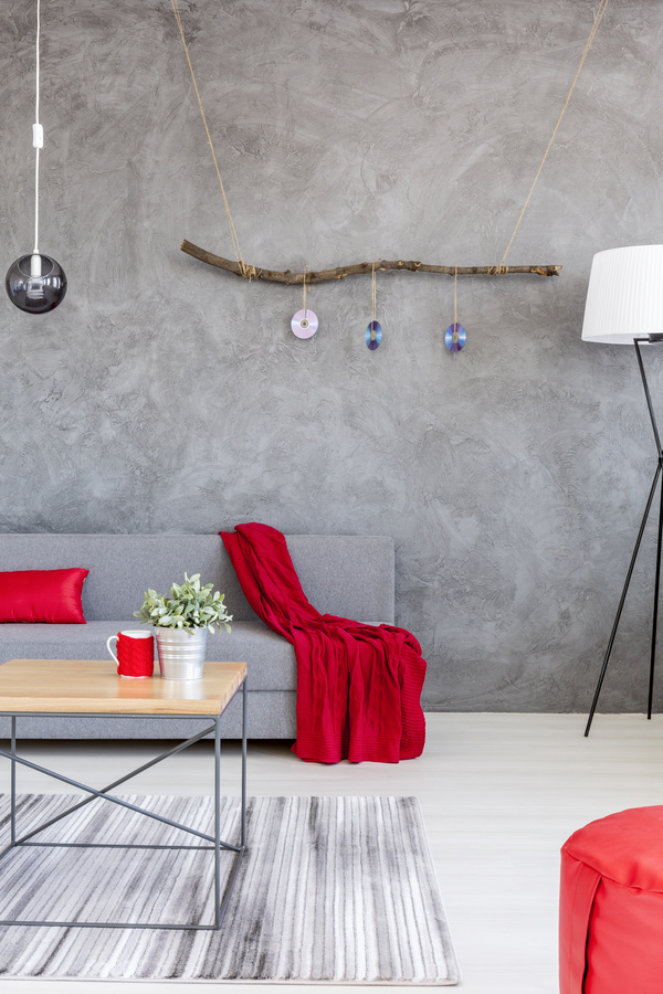 home interior in gray and red silk on the sofa Stock Photo 05