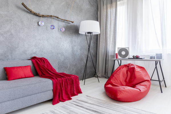 home interior in gray and red silk on the sofa Stock Photo 07