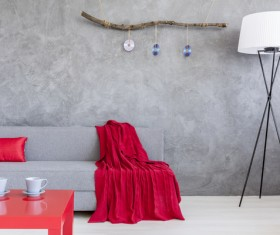 home interior in gray and red silk on the sofa Stock Photo 08