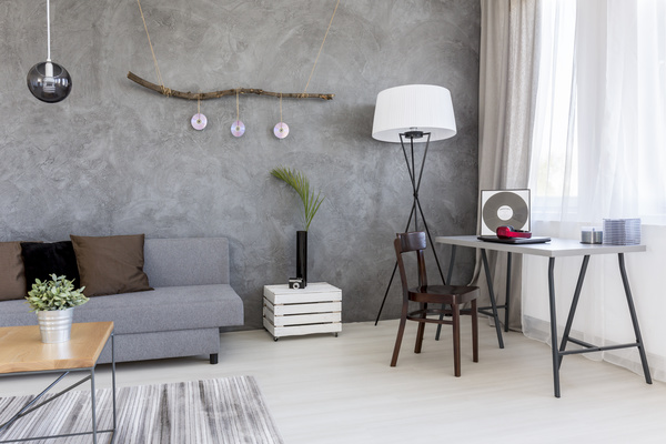 home interior in grey Stock Photo 06