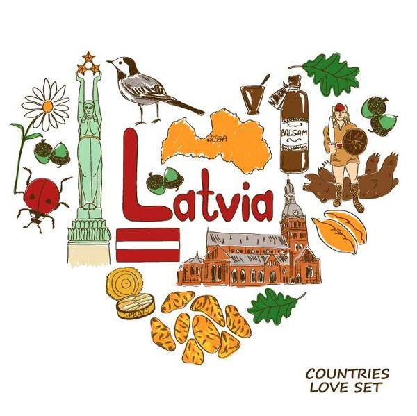 latvia country elements with heart shape vector