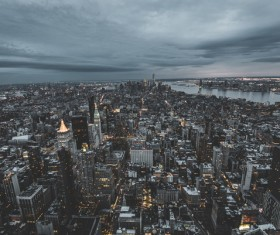 modern city at dusk from high view Stock Photo
