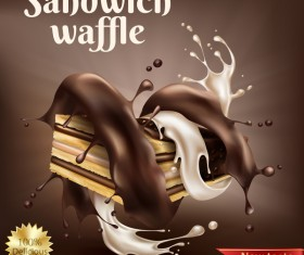 sandwich waffle poster template vector
