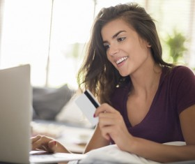 using laptop shopping girl Stock Photo