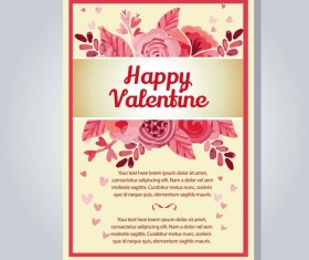 valentine letter with watercolor flower vector