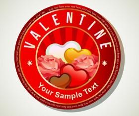 valentine round heart badge vector