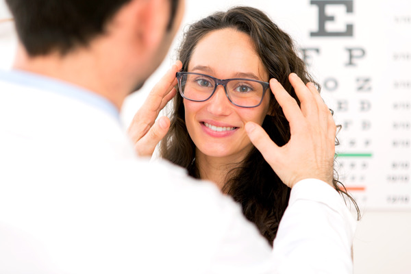 woman wearing nearsighted glasses Stock Photo