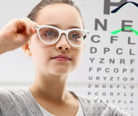 wore girl nearsighted eyeglasses Stock Photo 01