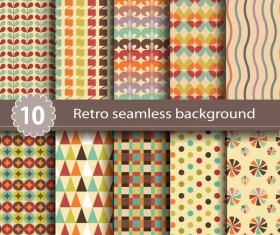 10 Kind retro seamless pattern vector