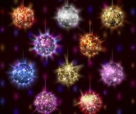 10 Kind shiny neon balls vector