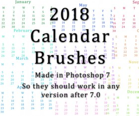 2018 Calendar Photoshop Brushes