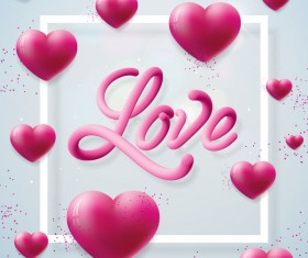 3D heart shape with white valentine background vector