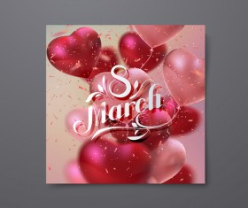 8 march womens day card with heart shape balloons vector 01