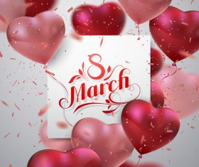 8 march womens day card with heart shape balloons vector 02