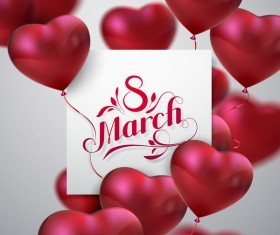 8 march womens day card with heart shape balloons vector 04