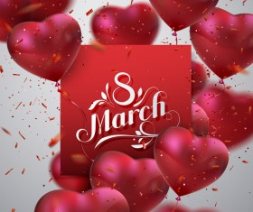 8 march womens day card with heart shape balloons vector 05