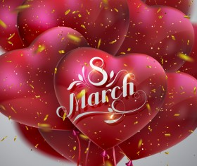8 march womens day card with heart shape balloons vector 06