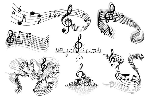 Abstract musical symbols and stave vector 01 free download