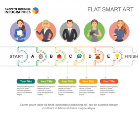 Adaptive business infographic flat template vector 08