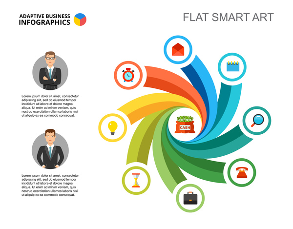 Adaptive business infographic flat template vector 12