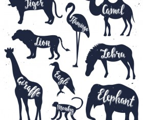 Animals silhouette with name vectors 02