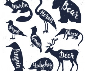 Animals silhouette with name vectors 03