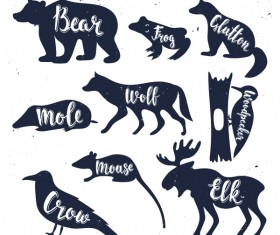 Animals silhouette with name vectors 04
