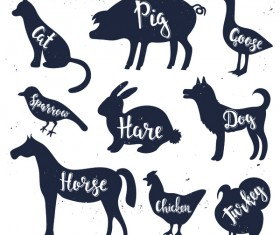 Animals silhouette with name vectors 05