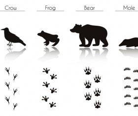 Animals with footprint silhouette vector material 05