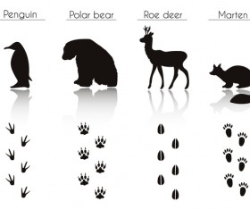 Animals with footprint silhouette vector material 06
