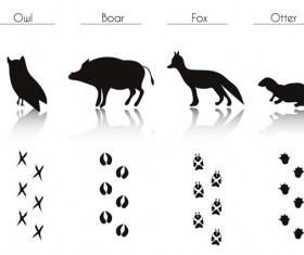 Animals with footprint silhouette vector material 07